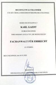 Bild Urkunde Fachanwalt Erbrecht Braunschweig